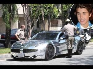 Bieber getting a ticket