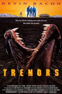 TREMORS, US poster art, top from left: Kevin Bacon, Finn Carter, Fred Ward, 1990.